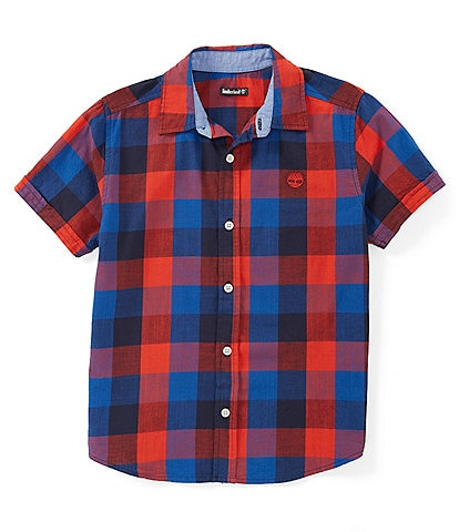 Timberland Big Boys 8-20 Short-Sleeve Tenney Plaid Button-Front Top