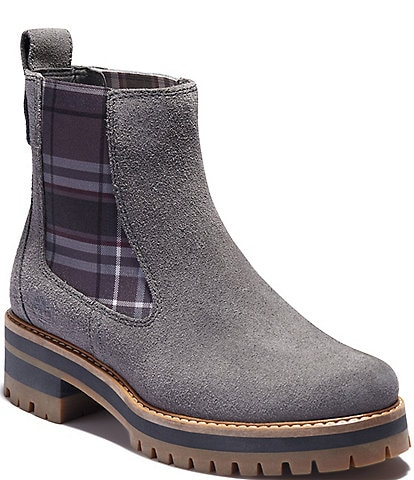 Timberland Courmayeur Valley Chelsea Suede Plaid Boots
