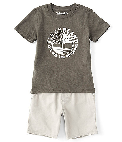 Timberland Little Boys 2T-7 Short-Sleeve Quad Graphic Tee & Microsueded Twill Shorts Set