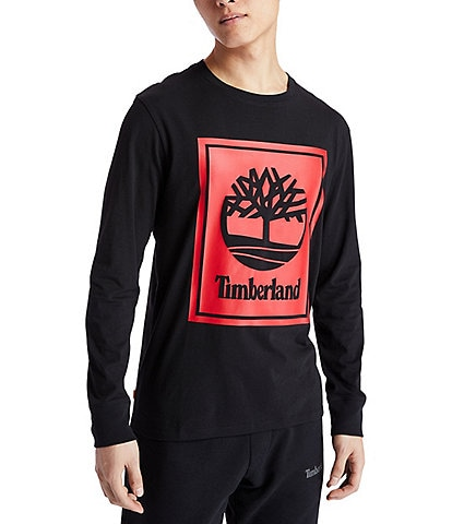 Timberland Stack Logo Long-Sleeve Organic Cotton Tee