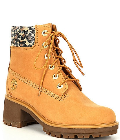 Timberland Women's Kinsley 6#double; Leopard Trim Waterproof Lug Sole Block Heel Hiker Booties