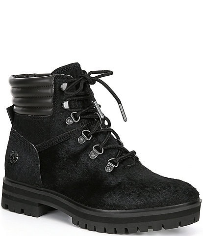 Timberland Women's London Square Haircalf Mid Hiker Block Heel Lug Sole Boots