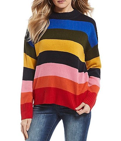 Timing Rainbow Stripe Long Sleeve Sweater