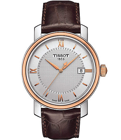 Tissot Bridgeport Brown Leather Strap Watch