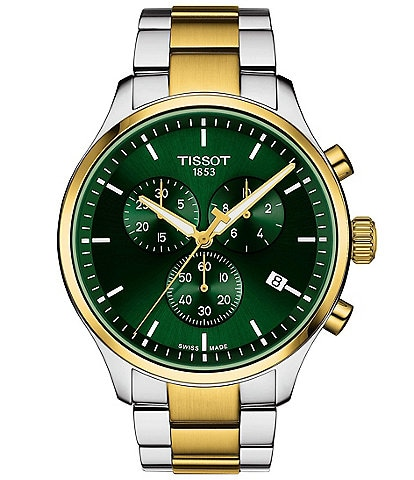 Tissot Chrono Xl Classic Two Tone Stainless Steel Green Dial Bracelet Watch