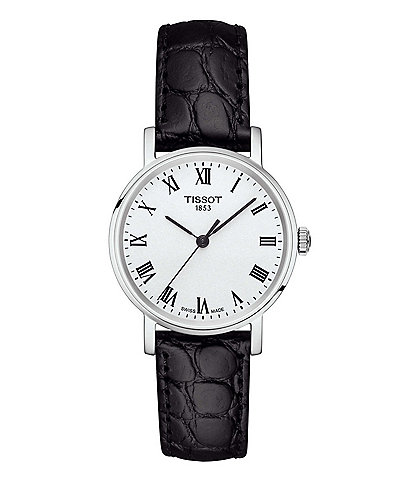 Tissot Everytime Black Leather Strap Watch