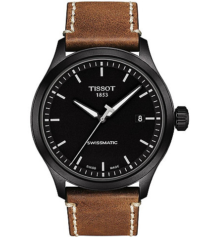 Tissot Gent XL Swissmatic Brown Leather Strap Black Dial Watch