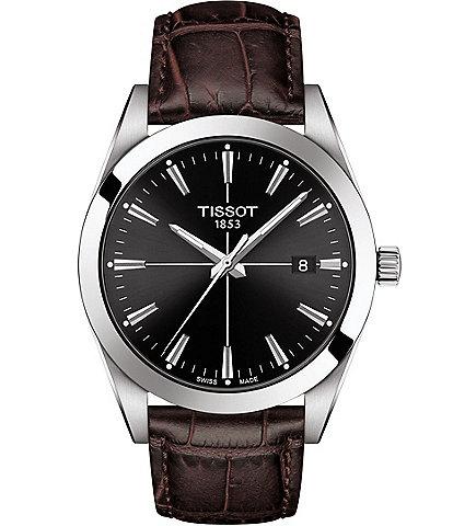 Tissot Gentleman Brown Embossed Leather Watch