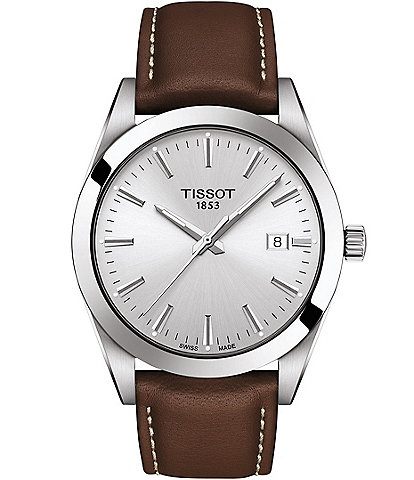 Tissot Gentleman Silver Dial Brown Leather Watch