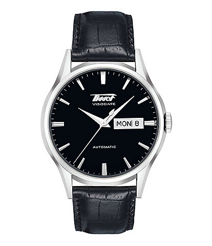 Tissot Heritage Visodate Automatic Black Leather Strap Watch