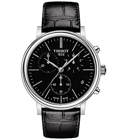 Tissot Men's Carson Black Leather Strap Watch