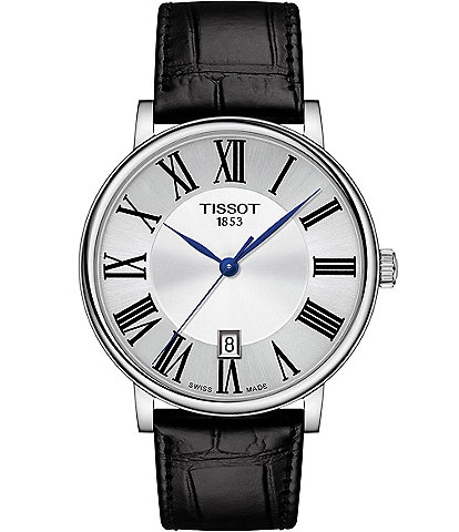 Tissot Men's Carson Premium Black Leather Strap Watch