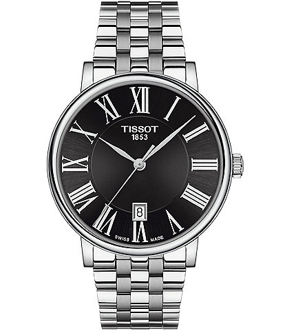 Tissot Men's Carson Premium Stainless Steel Black Dial Bracelet Watch