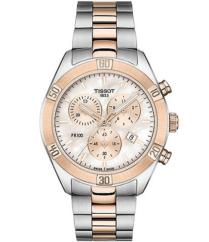 Tissot PR 100 Sport Chic Colorblock Mother of Pearl Dial Chronograph Watch