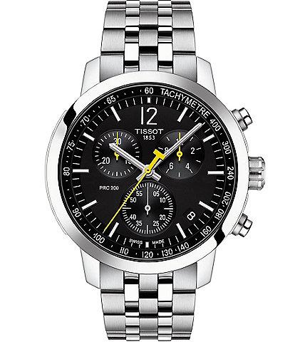 Tissot PRC 200 Black Dial Chronograph Bracelet Watch