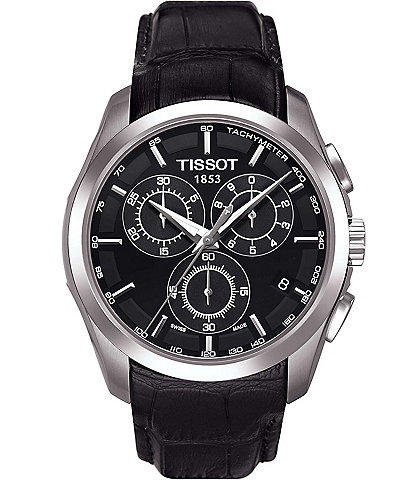 Tissot T-Classic Couturier Chronograph & Date Leather-Strap Watch