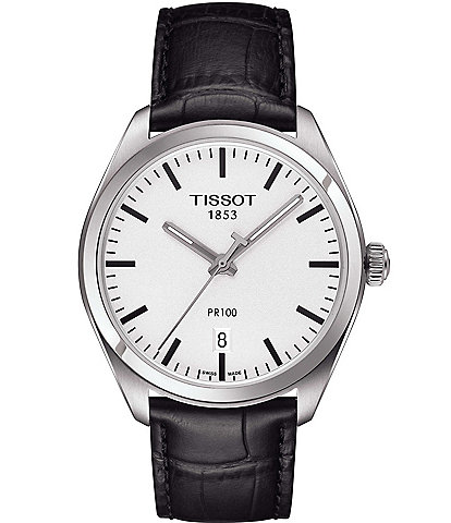 Tissot T-Classic PR 100 Analog & Date Leather-Strap Watch
