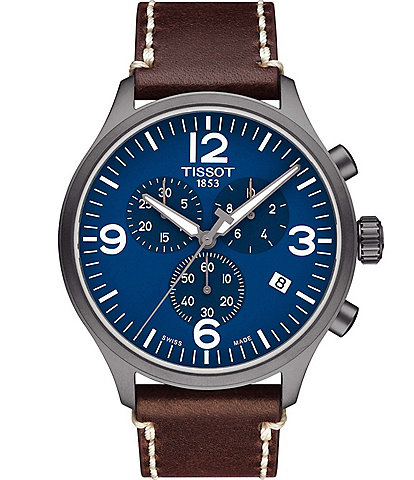Tissot T-Sport Blue Chrono XL Chronograph & Date Leather-Strap Watch