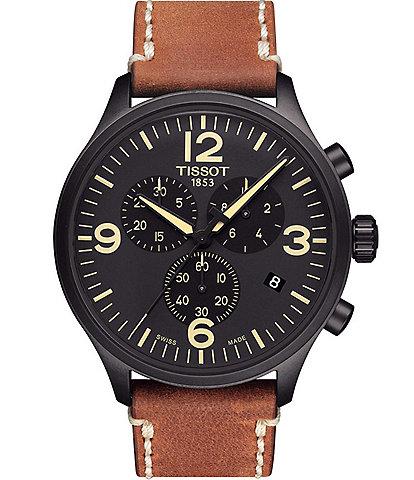 Tissot T-Sport Black Chrono XL Chronograph & Date Leather-Strap Watch