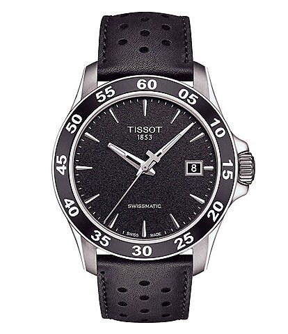 Tissot V8 Men's Black Leather Strap Mechanical Automatic Watch