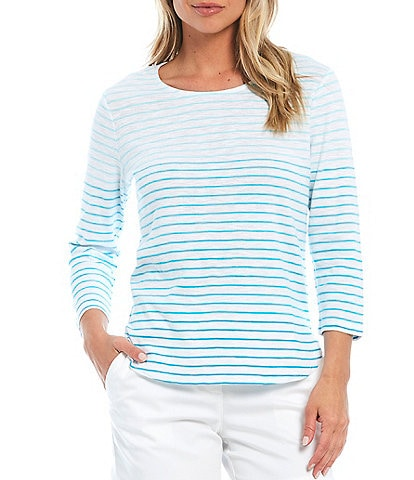 Tommy Bahama Ashby Jewel Neck 3/4 Sleeve Ombre Stripe Tee
