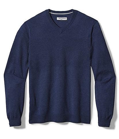 Tommy Bahama Big & Tall Islandzone Coolside Long-Sleeve V-Neck Pullover Shirt