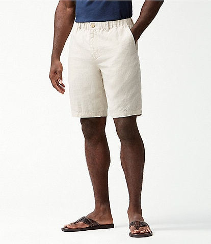 Tommy Bahama Big & Tall Linen The Good Life 10#double; and 11#double; Inseam Elastic Waist Shorts