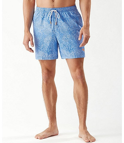 Tommy Bahama Big & Tall Naples Coral Coast Printed 6#double; and 8#double; Swim Trunks