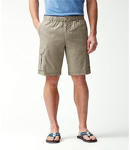 Tommy Bahama Big & Tall Ripstop Elastic Waist Survivalist 10#double; and 11#double; Inseam Cargo Shorts
