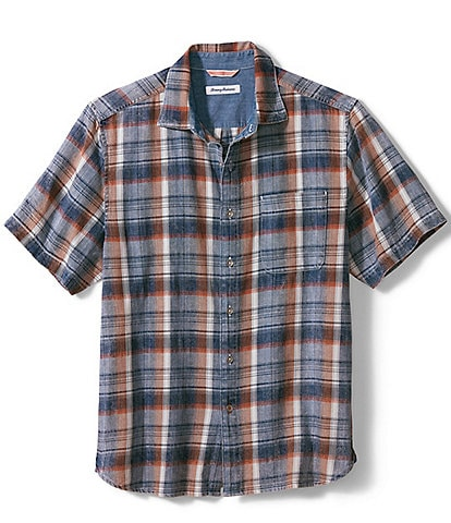 Tommy Bahama Big & Tall Seaspray Plaid Short-Sleeve Woven Shirt