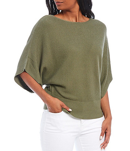 Tommy Bahama Bonita Wide Sleeve Boat Neck Comb Cotton Blend Pullover