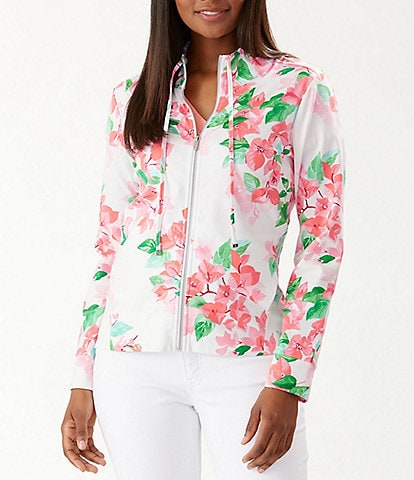 Tommy Bahama Bougenvilla Floral Martinique Drawstring Neckline Zip-Front Jacket