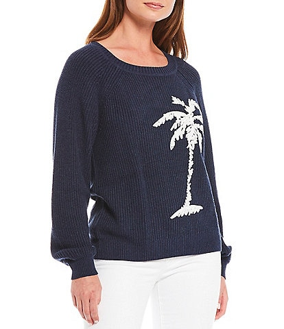 Tommy Bahama Breezy Palm Tree Crew Cotton Blend Pullover Statement Sweater Top