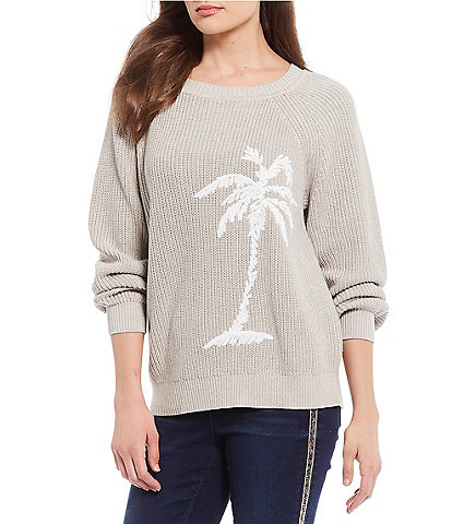 Tommy Bahama Breezy Palm Tree Crew Cotton Blend Pullover