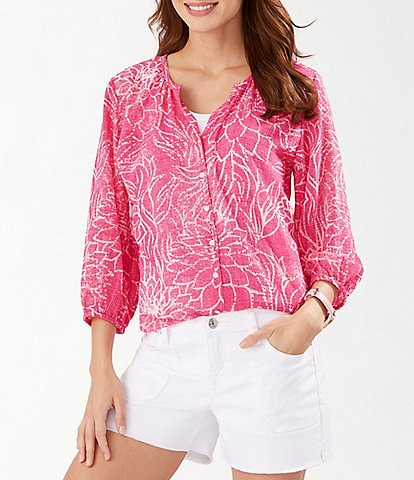 Tommy Bahama Bungalow Blooms 3/4 Sleeve Top