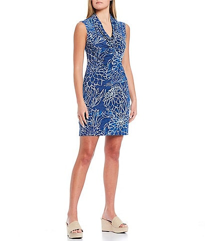 Tommy Bahama Bungalow Blooms Cowl Neck Sleeveless Shift Dress