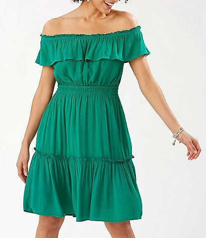 Tommy Bahama Caicos Crinkle Gauze Off-The-Shoulder Cinched Waist Dress