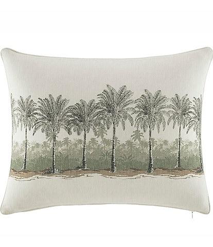 Tommy Bahama Canvas Stripe Breezer Palm Faux-Linen Pillow