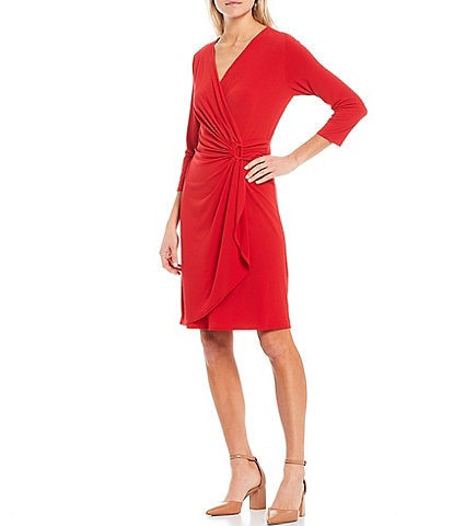 Tommy Bahama Carmella 3/4 Sleeve V-Neck Faux Wrap Dress