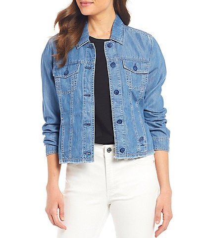 Tommy Bahama Chambray O'lei Cropped Frayed Hem Denim Jacket