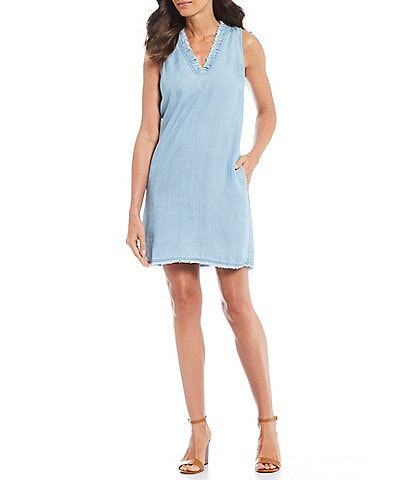 1186c1add5 Tommy Bahama Chambray Ruffle V-Neck Shift Dress