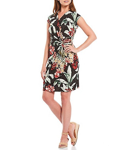 Tommy Bahama Clara Ocean Orchid Floral Print Short Sleeve Side Cinch Detail Faux Wrap Dress