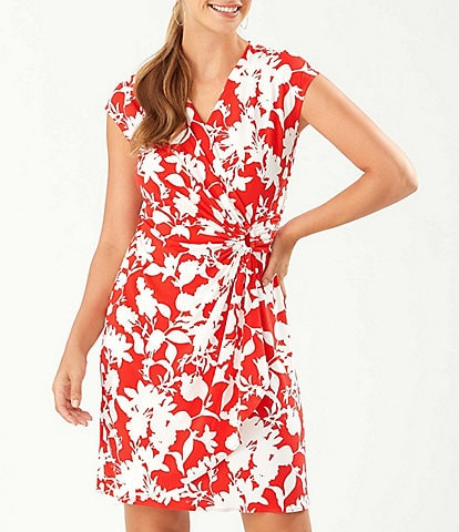 Tommy Bahama Clara Sunset Vista Floral Print V-Neck Cap Sleeve Faux Wrap Dress