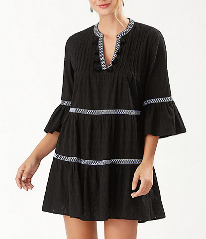 Tommy Bahama Cotton Clip Embroidered Tier Swim Cover Up Dress
