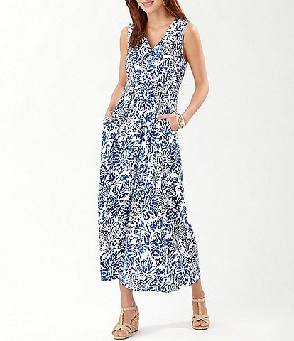 Tommy Bahama Indigo Isle V-Neck Sleeveless Pocket Floral Midi Dress