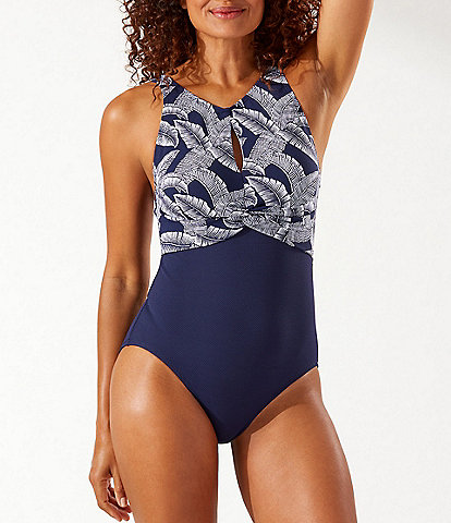 Tommy Bahama Island Cays Palms High-Neck Tummy Control One Piece Swimsuit