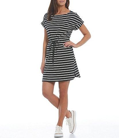 Tommy Bahama Jovanna Stripe Cotton Blend Round Neck Short Sleeve Shirt Dress