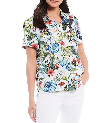 Tommy Bahama Disney Jungle Jubilee Linen Short Sleeve Point Collar Linen Shirt