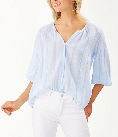 Tommy Bahama Lana Bay Stripe Button-Front 3/4 Sleeve Top
