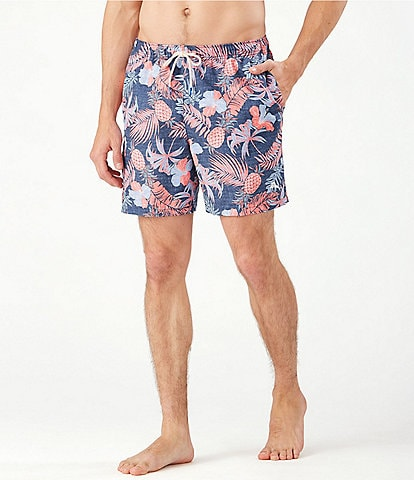 Tommy Bahama Naples Midnight Coral 6#double; Inseam Swim Trunks